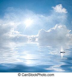 nuvens, e, sol, reflexão, em, água