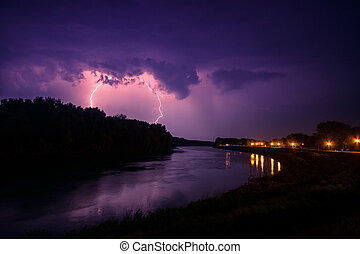 nuvens, e, trovão, relâmpagos, e, tempestade
