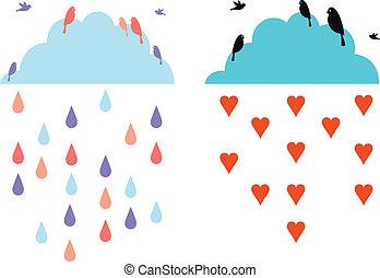 nuvens, em, a, céu, com, pássaros, vecto