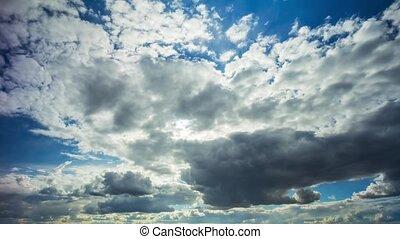nuvens, em, a, céu, tempo-lapso