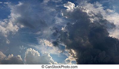 nuvens escuras, chuva, antes de