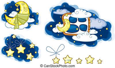 nuvens, estrelas, lua