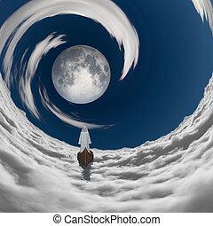 nuvens, figura, lua branca, manto, fulll, flutuante