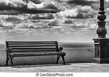 nuvens, fundo, banco