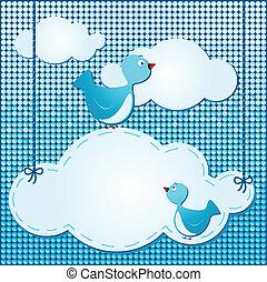 nuvens, fundo, com, cute, pássaros