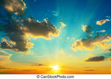 nuvens, iluminado, por, sunlight., sunset.