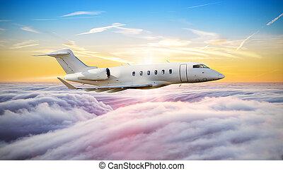 nuvens, jato, voando, avião privado, acima