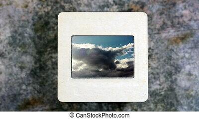 nuvens, lapso, céu, escorregar, tempo, película