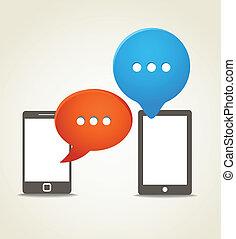 nuvens, móvel, modernos, dois, telefone, fala