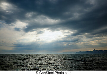 nuvens, mar tempestuoso