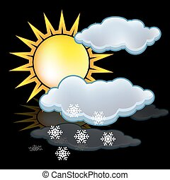nuvens, neve, sol