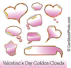nuvens, ouro, valentine, corações, adesivos, dia, vermelho