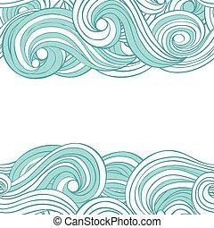 nuvens, padrão, abstratos, text., seamless, mão, vetorial, lugar, fundo, ondas, desenhado, seu, cartão, design.
