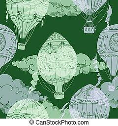 nuvens, padrão, seamless, ar, quentes, ballons