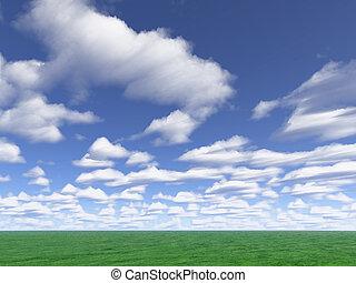 nuvens, prado