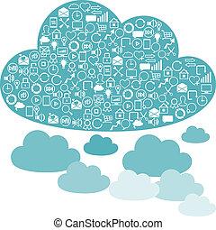 nuvens, rede, experiências internet, icons., social, seo