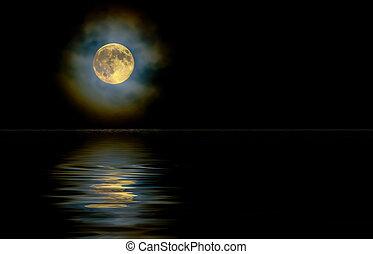 nuvens, reflexão, ouro, lua, alto, através