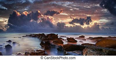 nuvens, roxo, oceânicos, escuro, dramático, mar