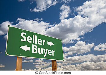 nuvens, sobre, sinal, vendedor, verde, comprador, estrada