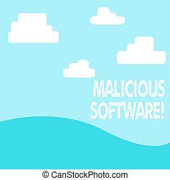 nuvens, software., conceito, digitalmente, negócio, hills., texto, malicioso, dano, avião, sistema, traz, computador, vista, palavra, foto, desenhado, escrita, paisagem, software