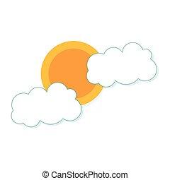 nuvens, sol, desenho