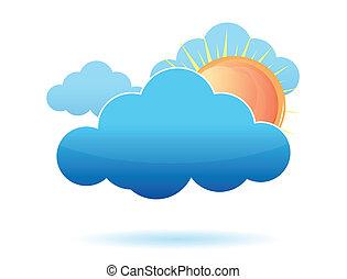 nuvens, sol, desenho, ilustração