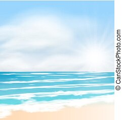 nuvens, sol, macio, luminoso, mar, amanhecer