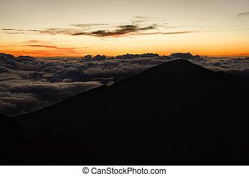 nuvens, sunrise., acima