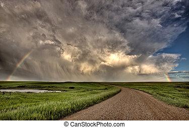 nuvens tempestade, pradaria, céu, saskatchewan