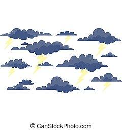 nuvens, tempestade, relampago