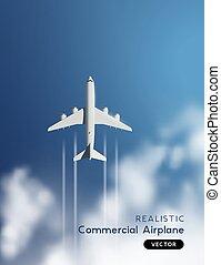 nuvens, voando, realístico, vetorial, através, avião