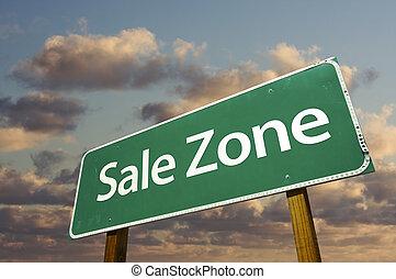 nuvens, zona, sinal venda, verde, estrada