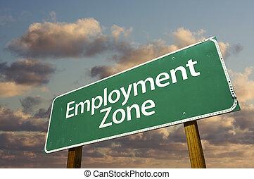 nuvens, zona, sinal, verde, emprego, estrada