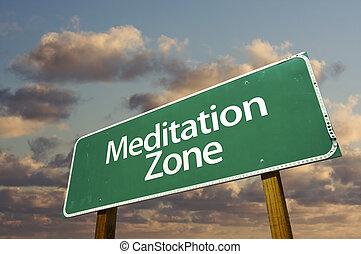 nuvens, zona, sinal, verde, meditação, estrada
