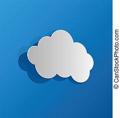 nuvola, blu, carta, ritagliare