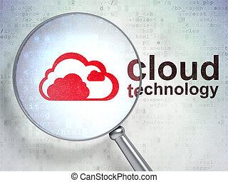 nuvola, calcolare, concept:, ingrandendo, ottico, vetro, con, nuvola, icona, e, nuvola, tecnologia, parola, su, sfondo digitale, 3d, render