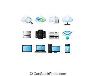 nuvola, calcolare, icone