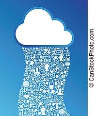 nuvola, calcolare, sociale, media, rete, fondo