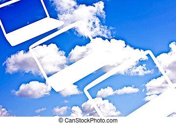 nuvola, calcolare, tecnologia, concetto