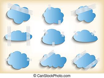 nuvola, carta, nastro, scotch, collezione