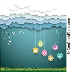 nuvola, carta, vendita, shopping, piovoso