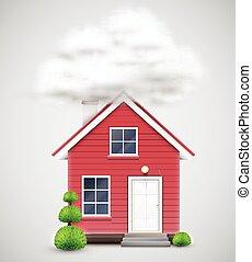 nuvola, casa, vettore, collegato, realistico