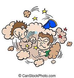 nuvola, combattimento, ragazzi, polvere, due
