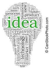 nuvola, concetto, etichetta, idea, parole