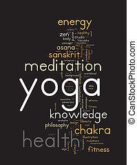 nuvola, concetto, parola, illustration., yoga.
