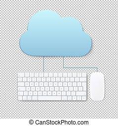 nuvola, concetto, trasparente, fondo, calcolare