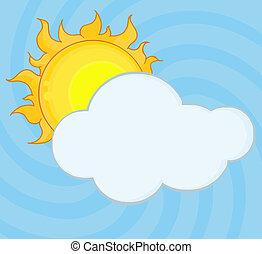 nuvola, dietro, bastonatura, sole brilla