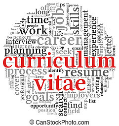 nuvola, etichetta, curriculum, vitae, concetto, parola