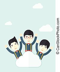 nuvola, felice, tre, cinese, uomini affari