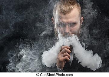 nuvola, fondo., vapor., studio, shooting., presa a terra,...